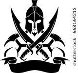 spartan sword insignia | Shutterstock .eps vector #668164213