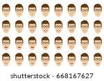 emotions set. man wearing... | Shutterstock .eps vector #668167627