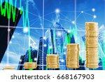 money business coin on network... | Shutterstock . vector #668167903