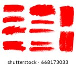 painted grunge stripes set. red ... | Shutterstock .eps vector #668173033