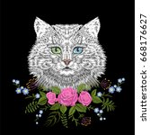 white cat with blue green eyes... | Shutterstock .eps vector #668176627