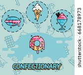 confectionary flat concept icons