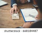 businessman giving money ... | Shutterstock . vector #668184487