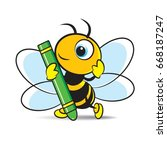 colorful cartoon bee holding a... | Shutterstock .eps vector #668187247