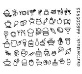 doodle food icons. hand drawn... | Shutterstock . vector #668205913