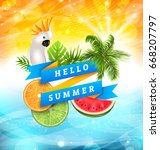 summer funny poster design with ... | Shutterstock .eps vector #668207797
