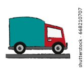 cargo or delivery truck icon... | Shutterstock .eps vector #668210707