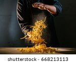 chef adds wheat flour to the... | Shutterstock . vector #668213113