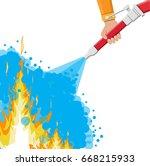 water hose in hand to... | Shutterstock .eps vector #668215933