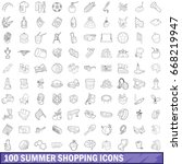 100 summer shopping icons set... | Shutterstock .eps vector #668219947