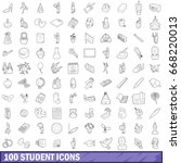100 student icons set in... | Shutterstock .eps vector #668220013