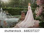 beautiful romantic tall girl in ... | Shutterstock . vector #668237227