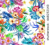 floral repeating tropical... | Shutterstock . vector #668252143