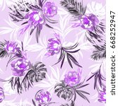 floral pattern watercolour... | Shutterstock . vector #668252947
