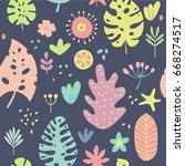tropical plants  leafs  flowers ... | Shutterstock .eps vector #668274517