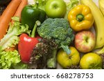 vegetables and fruits on wood... | Shutterstock . vector #668278753