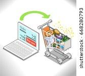 shopping groceries online....   Shutterstock .eps vector #668280793
