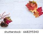 autumn thanksgiving background...   Shutterstock . vector #668295343