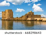 crusaders sea castle sidon...   Shutterstock . vector #668298643