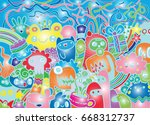 hipster hand drawn crazy doodle ... | Shutterstock .eps vector #668312737