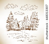 Hand Drawn Landscape With...