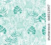 vector green tropical leaves... | Shutterstock .eps vector #668313547