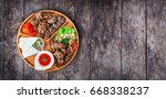 assorted delicious grilled meat ... | Shutterstock . vector #668338237