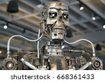 Small photo of Los Angeles, California, USA - JUNE 25, 2017: Cyberdyne Systems Model 101 Series T-800 Terminator metal endoskeleton in the souvenirs gift shop on Hollywood Blvd and Orange Dr.