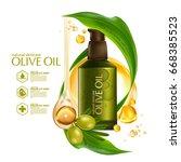 olive oil organics natural skin ... | Shutterstock .eps vector #668385523