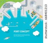 cartoon port town concept... | Shutterstock .eps vector #668401213