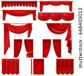 curtains and draperies interior ... | Shutterstock .eps vector #668403013