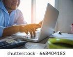 business man working at office...   Shutterstock . vector #668404183
