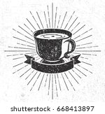 vintage coffee cup with scroll... | Shutterstock . vector #668413897