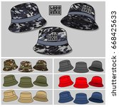 bucket hat template | Shutterstock .eps vector #668425633