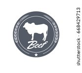 butcher shop vintage emblem... | Shutterstock .eps vector #668429713