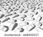 3d illustration of many white... | Shutterstock . vector #668433217