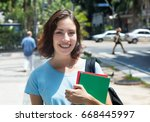laughing caucasian female... | Shutterstock . vector #668445997