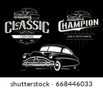 classic car typography emblems... | Shutterstock .eps vector #668446033