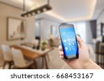 mobile phone with apps on smart ... | Shutterstock . vector #668453167