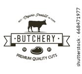 butchery shop logo template.... | Shutterstock . vector #668471977