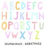 handwritten alphabet on a white ...   Shutterstock . vector #668479453