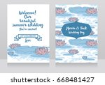 two cards for wedding with... | Shutterstock .eps vector #668481427