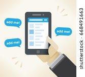 businessman hand holding mobile ...   Shutterstock .eps vector #668491663
