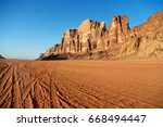 in the wadi rum desert of... | Shutterstock . vector #668494447