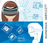 virtual reality game with... | Shutterstock .eps vector #668511277