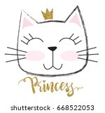 Stock vector cute princess cat with a glitter crown for print baby clothes t shirt child or wrapping paper 668522053