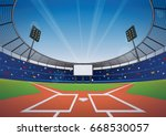 baseball field with bright... | Shutterstock .eps vector #668530057