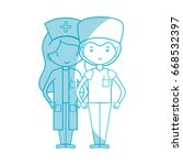 silhouette doctor and nurse to... | Shutterstock .eps vector #668532397