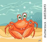 funny crab on the seabed.... | Shutterstock .eps vector #668536693
