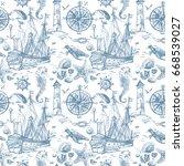 nautical elements seamless... | Shutterstock . vector #668539027